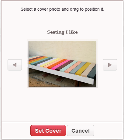 Selecting a Cover for your Pinterest Board