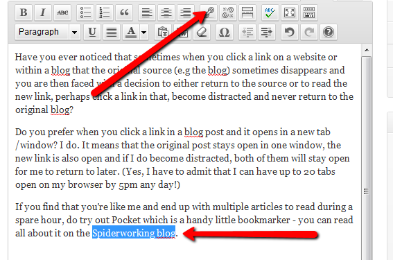 How to create a hyperlink within a blog post